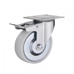 Industrial plastic PP caster wheel with double brakes