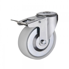 Bolt hole plastic PP caster wheel with double brakes