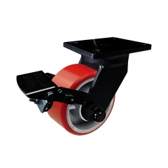 Super heavy duty PU swivel caster wheel with double brakes