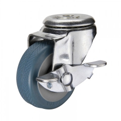 Light duty bolt hole rubber caster wheel