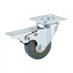 Light duty swivel gray PVC caster wheel locks