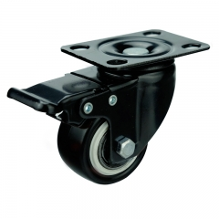 Light duty PVC swivel caster wheel locks