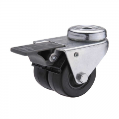 Hard rubber bolt hole twin-wheel caster locks