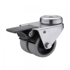 TPR bolt hole twin-wheel caster locks