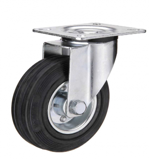 Black rubber industrial caster wheel
