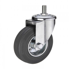 Gray rubber threaded stem industrial caster wheel