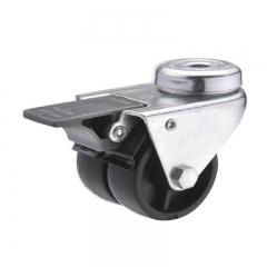 Plastic bolt hole twin-wheel caster locks