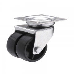 Plastic swivel twin-wheel caster
