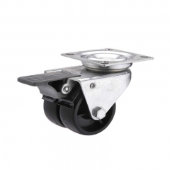 Plastic swivel twin-wheel caster locks