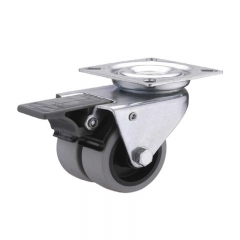 TPR swivel twin-wheel caster locks