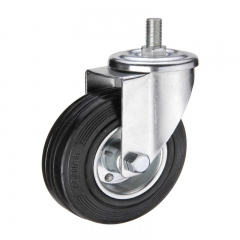 Black rubber threaded stem industrial caster wheel
