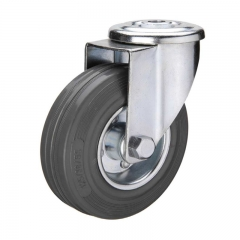 Gray rubber bolt hole industrial caster wheel