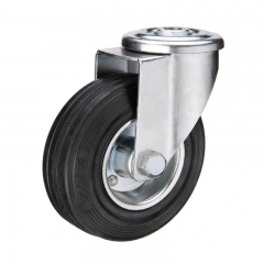 Black rubber bolt hole industrial caster wheel