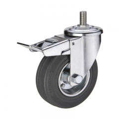 Gray rubber threaded stem industrial caster wheel locks