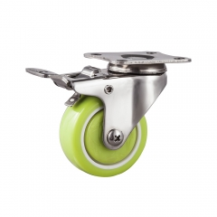 Light duty stainless swivel caster with total brake