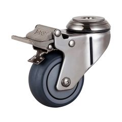 Medium duty stainless steel tpr bolt hole swivel caster with total brake