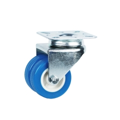 Light duty top plate blue pvc swivel twin wheel caster wheel